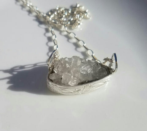 Crystal Quartz Cluster Pendant Necklace