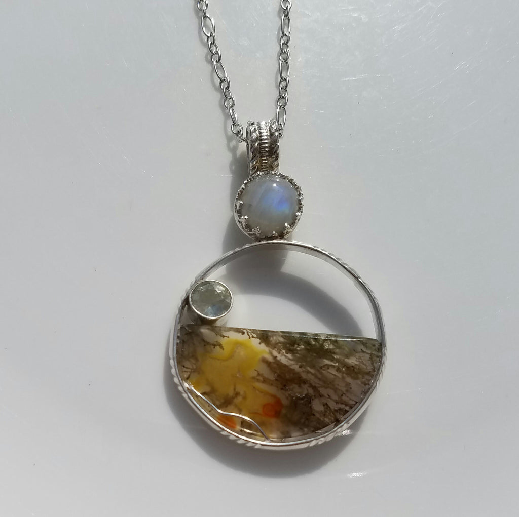 Rainbow moonstone with Moss Agate Sterling Silver Pendant