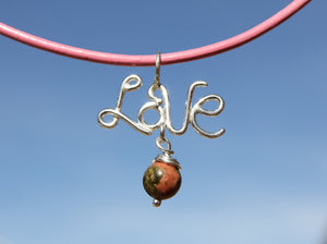 LOVE Pendant  Necklace with Unakite Stone Charm