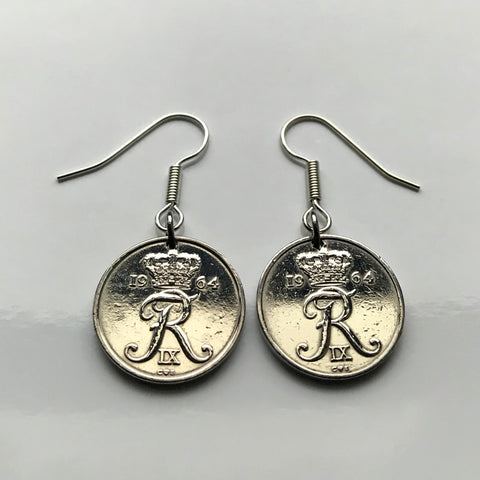 1964 1972 Denmark Danish 10 Ore coin earrings initial R Copenhagen Dane Nordic Zealand Funen Faroese Danmark Amalienborg Palace king e000107