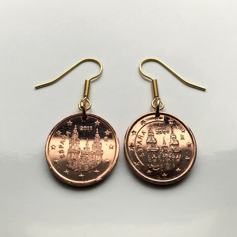 Spain 2 Cents coin earrings Camino de Santiago Compostela cathedral Galicia Way of Saint James apostle Ourense Ferrol Christianity Praza do Obradoiro Lugo pilgrimage Madrid Sevilla Pontevedra e000320