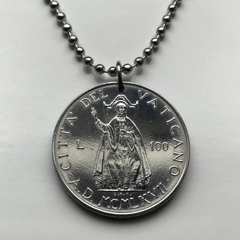 1967 Vatican Italy 100 Lire coin pendant Saint Peter throne Pope Paul VI Apostolic Palace diocese bishop Rome Jesus Christ Apostle n003222