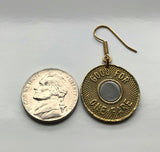 USA NYC 1986-1989 New York City Subway transit token coin earrings Manhattan Brooklyn Bronx Queens E F R trains railroad transportation e000251