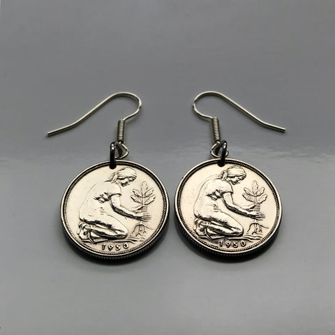 1950 or 1966 Germany 50 Pfennig German coin earrings planting tree gardener Berlin Deutschland Bavaria  Dortmund Essen Leipzig seeds e000064