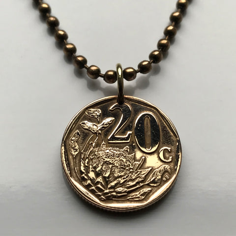 1997 South Africa 20 Cents coin pendant King Protea flower Pretoria Bantu flowering plant Eastern Cape isiZulu Northern Sotho Gauteng n003143