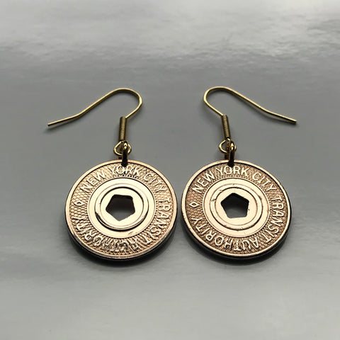 USA 1995-2003 New York City Subway transit token coin earrings Manhattan Times Square Queens Bronx Brooklyn Staten Island NYC E F R trains railroad transportation e000279…