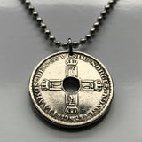 1925 Norway 1 Krone coin pendant Norwegian cross Norge initial H Nordic Norsk Scandinavia crowned number 7 Norse Sámi people n000543