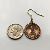 Trinidad and Tobago 1 Cent coin earrings Scarlet Ibis Cocrico Port of Spain hummingbird Arima Couva Scarborough Soca Rapso steelpan Point Fortin Diego Martin Trinbagonian caribbean island e000069
