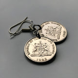 Trinidad & Tobago 25 Cents coin earrings Scarlet Ibis Cocrico Chaconia flower Point Fortin Diego Martin Rapso Trinbagonian caribbean e000029