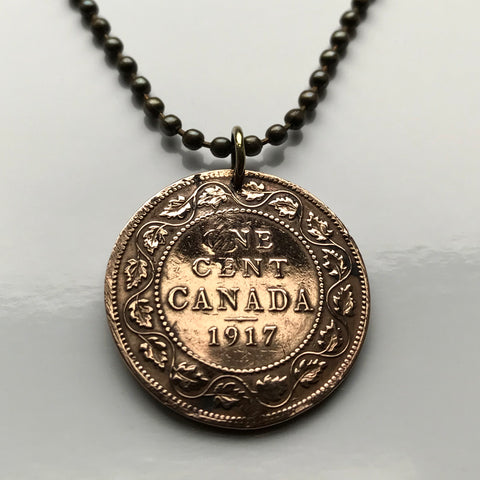 1917 Canada Large Cent coin pendant Canadian maple leaves Montreal Vancouver Quebec Ottawa Toronto North America necklace n000251