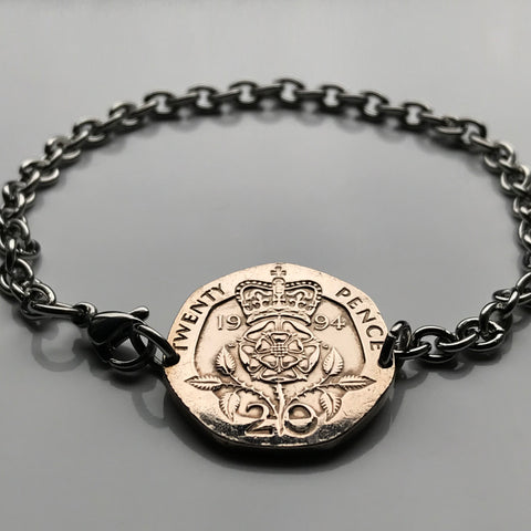 1984 to 1994 United Kingdom 20 Pence coin bracelet Tudor Rose English crown England London Manchester Bristol Sheffield Newcastle Wales Ireland Irish Lancaster Leeds Southampton Great Britain b000046