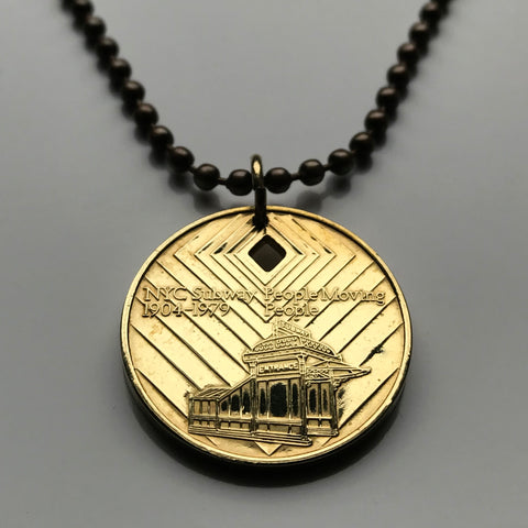 USA NYC 1970-1980 New York City Subway transit token coin pendant Manhattan Brooklyn Bronx Queens Staten Island E F R trains railroad transportation Central Park Times Square Big Apple 42nd St n003281