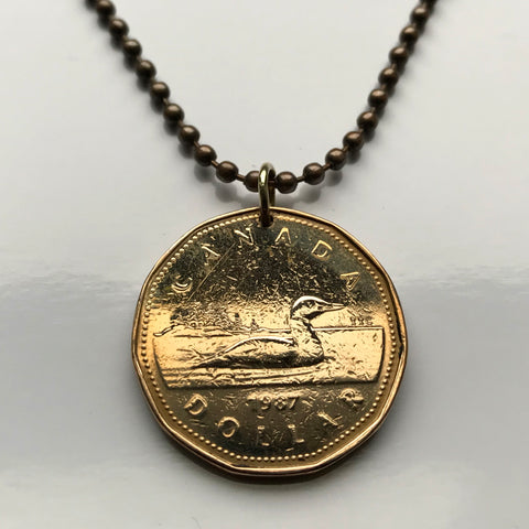 1987 Canada 1 Dollar coin pendant Canadian LOON duck goose swimming Montreal Vancouver lake pond loonie aquatic n001229