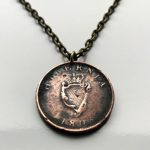1805! Ireland Penny coin pendant jewelry Irish Gaelic harp Dublin Cork Belfast Limerick Galway Waterford Derry Leinster Connacht Lisburn Ulster Munster Éire Celtic Drogheda Swords Dundalk Bray n001942…