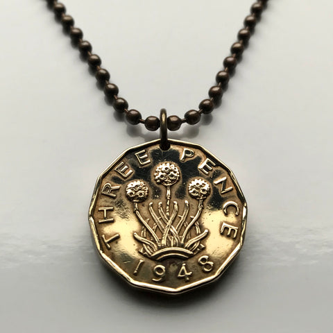 1944 or 1948 United Kingdom 3 Pence coin pendant thrift plant London Cardiff sea pink flower Scotland Ireland Wales Sheffield Bristol Leicester n000145