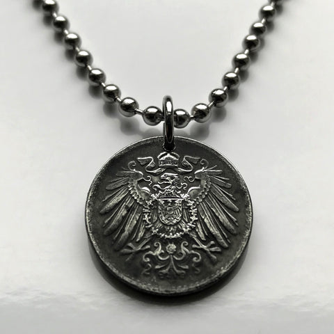 1915-1922 Germany 5 Pfennig coin pendant German eagle Berlin Hamburg Düsseldorf Dortmund Essen Leipzig Bremen Dresden Saxony World War 1 n000283