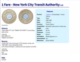 USA 1986-1989 New York City Subway Train token coin pendant Manhattan Brooklyn Queens Bronx NYC Times Square Fifth Avenue 42nd street Central Park Madison Ave Rockefeller Center Wall Street n003204