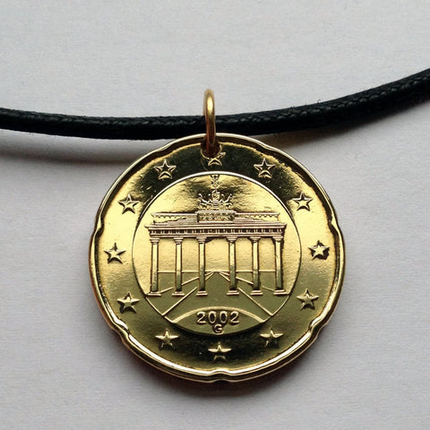 2012 Germany 20 Euro Cent coin pendant German Brandenburg Gate chariot horses east west Berlin wall Mitte Cold War necklace n000389