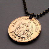 1990 UK Bailiwick of Jersey 2 Pence coin pendant Hermitage of Saint Helier necklace fortress Normandy coast beach religion Monastery n001520