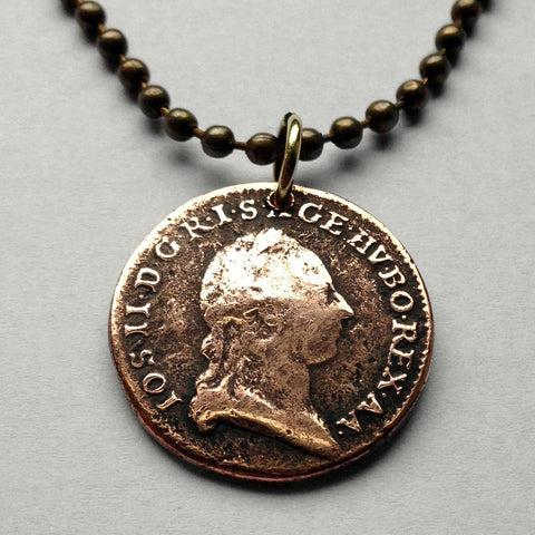 antique 1781 Austria 1/2 Kreutzer coin pendant Austrian Habsburg necklace dynasty monarch royalty Vienna Österreich eagle German n001641