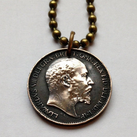 1905 United Kingdom farthing coin pendant British English London seated Britannia United Kingdom King Edward VII crown necklace n001008