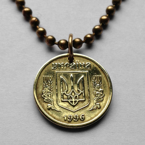 2004 Ukraine 10 Kopiyok coin pendant Ukrayina Tryzub gold trident Kiev blue shield Vladimir the Great necklace n001717