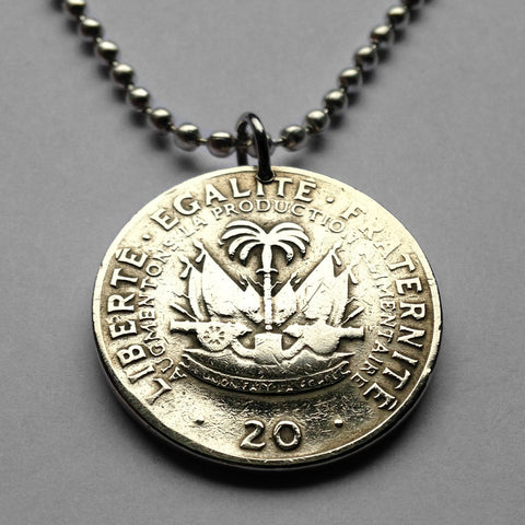 1972 Haiti 20 Centimes coin pendant Haitian Port-au-Prince cannon palm tree Caribbean Hispaniola French creole flag African necklace n001445