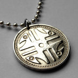 1995 Colombia 200 Pesos coin pendant artesania Quimbaya spindlewheel bird artifact Chinchiná Colombian indigenous etnia gold necklace n001299
