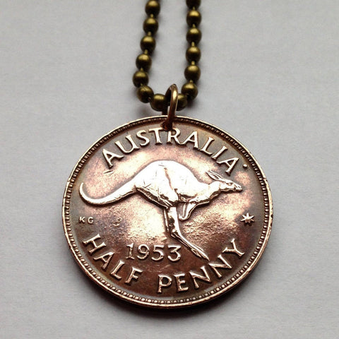 1959 Australia 1/2 Penny coin pendant kangaroo wallaby roos Sydney Darwin New South Wales Tasmania Aussie Southern Cross Oceania n000202