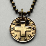 1948 to 1984 Switzerland Rappen coin pendant Swiss cross Helvetia Geneva Zurich white cross escutcheon coat of arms necklace jewelry n001459