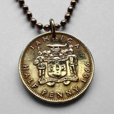 1964 or 1966 Jamaica 1/2 Penny coin pendant Jamaican crocodile pineapples Patois alligator British Kingston caribbean necklace n001838