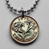 1970 to 1995 Bermuda 10 cents coin pendant Bermudian  Lily flower blossom necklace bouquet flora rose plants Hamilton n000141