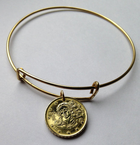 2011 or 2012 Italy 10 Euro Cent coin bangle bracelet Italian Birth of Venus adjustable Botticelli keepsake Rome Florence Verona oil painting b000013