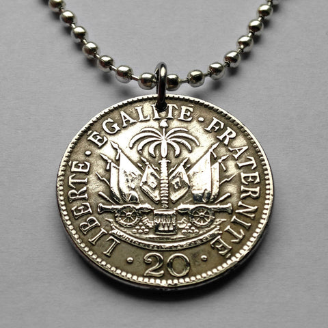1907 Haiti 20 Centimes coin pendant Haitian Port-au-Prince cannon palm tree Caribbean Hispaniola French creole flag African necklace n001600