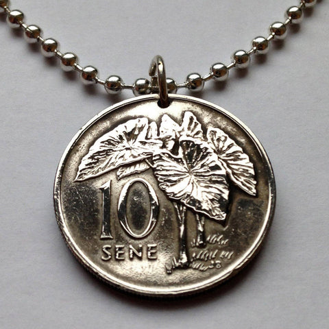 2002 Samoa 10 Sene coin pendant Taro plant Polynesian island South Pacific Oceania leaves vegetable flowering plants flora n001256