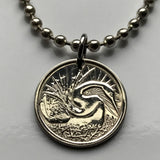 1970 or 1972 Singapore 5 cents coin pendant Singaporean swan water Snake bird nest freshwater lake Oriental darter necklace n000537