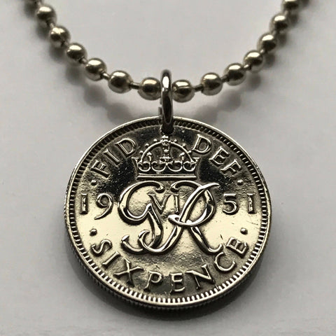 1951 United Kingdom 6 Pence coin pendant initial G R Scottish British English Welsh Irish Great Britain UK crown London necklace n002135