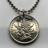 2002 China 1 Yuan coin pendant Chrysanthemum blossom mums Kaifeng chrysanths flower Double Ninth Festival Ju-Xian asian n002136