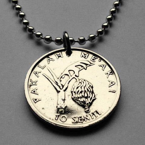 1981 Tonga 50 Seniti coin pendant Tongan Tongatapu Nukuʻalofa Polynesian Nuku Island Oceania World Food Day plantains fruit necklace n002070