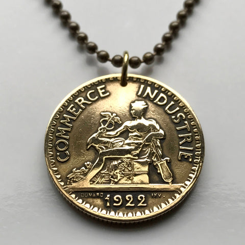 1922 France 2 Francs coin pendant French Mercury god of commerce nude statue Paris Lille Normandy Parisian Mont Saint-Michel Louvre n002125