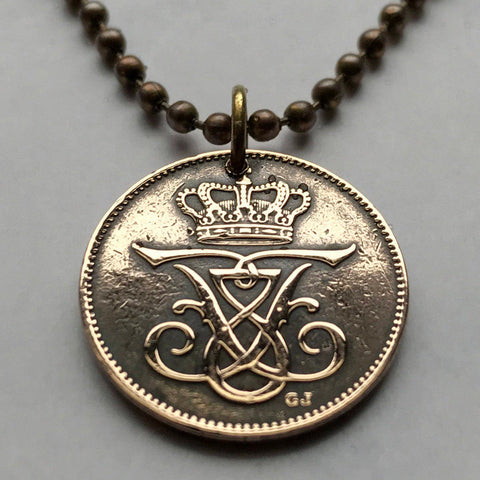 1909 Denmark 2 ore coin pendant Danish crown initial F Danmark Dane Copenhagen royal king queen Nordic Scandinavia necklace jewelry n001965