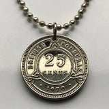 1970 British Honduras 25 cents coin pendant Belmopan Belize Maya Central American Hondo River crown colony UK wreath necklace n002167