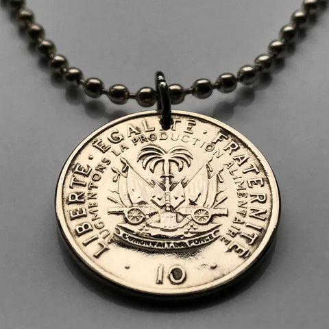 1975 Haiti 10 Centimes coin pendant Haitian Port-au-Prince cannons palm tree Caribbean Hispaniola French creole flag Africa necklace n001105