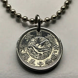1940 Japan 1 Sen coin pendant Japanese crow bird Yatagarasu mythological dove sacred mirror Yata no Kagami Kawasaki Okinawa WWII n002228