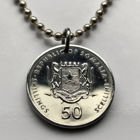 2002 Somalia 50 Shillings coin pendant 2 Leopards white Star of Unity Mogadishu horn of Africa Somali Soomaaliya Mandrill necklace n002238