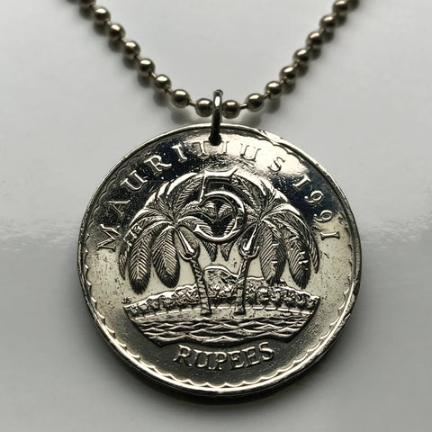 1991 Mauritius 5 Rupees palm trees Port Louis coin pendant Lymphad Rodrigues island Africa Hinduism French British coolies Sambar n002349