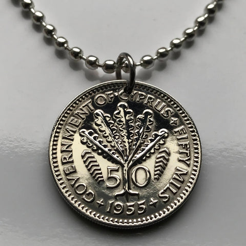 1955 British UK Cyprus 50 mils coin pendant Cypriot Fern Leaves blossom flowering Greek Nicosia Mediterranean Greece Turkey necklace n000786