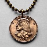 1996 Panama 1 Centesimo coin pendant Panamanian Urraca warrior Vasco Núñez de Balboa native indian Central America necklace n001592