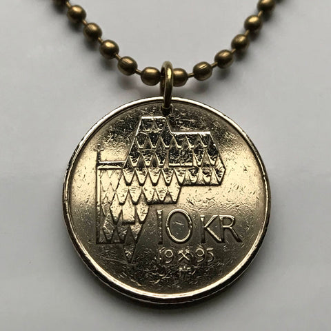 1996 Norway 10 Kroner coin pendant Norwegian church cross Alt for Norge Oslo Scandinavia Nordic viking Old Norse necklace n002442