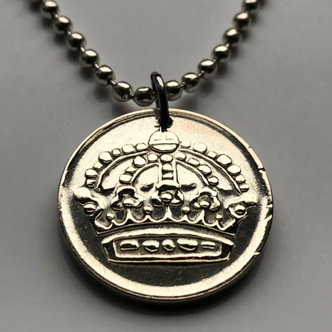 1957 Sweden 50 Ore silver coin pendant Swedish crown Stockholm Sverige Scandinavian Nordic Björkö Scania king queen Sami people n002461